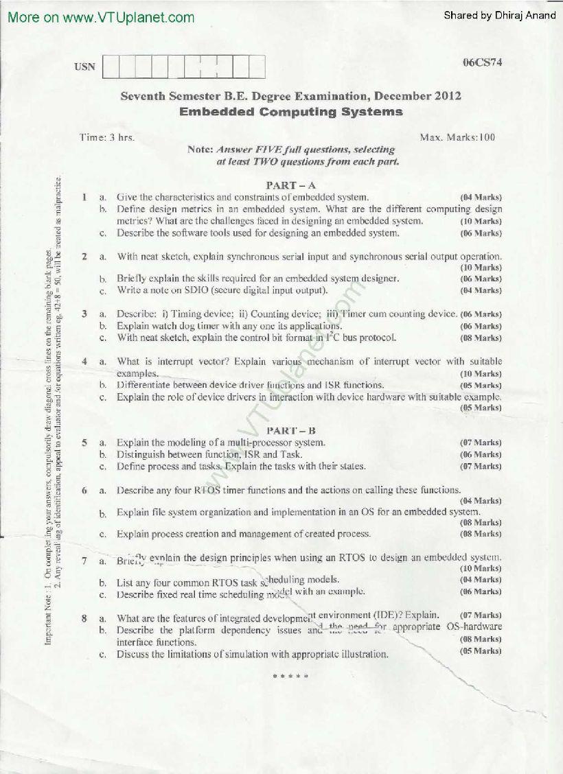 Embedded Computing Systems Vtu Notes 2020 2021 Studychacha