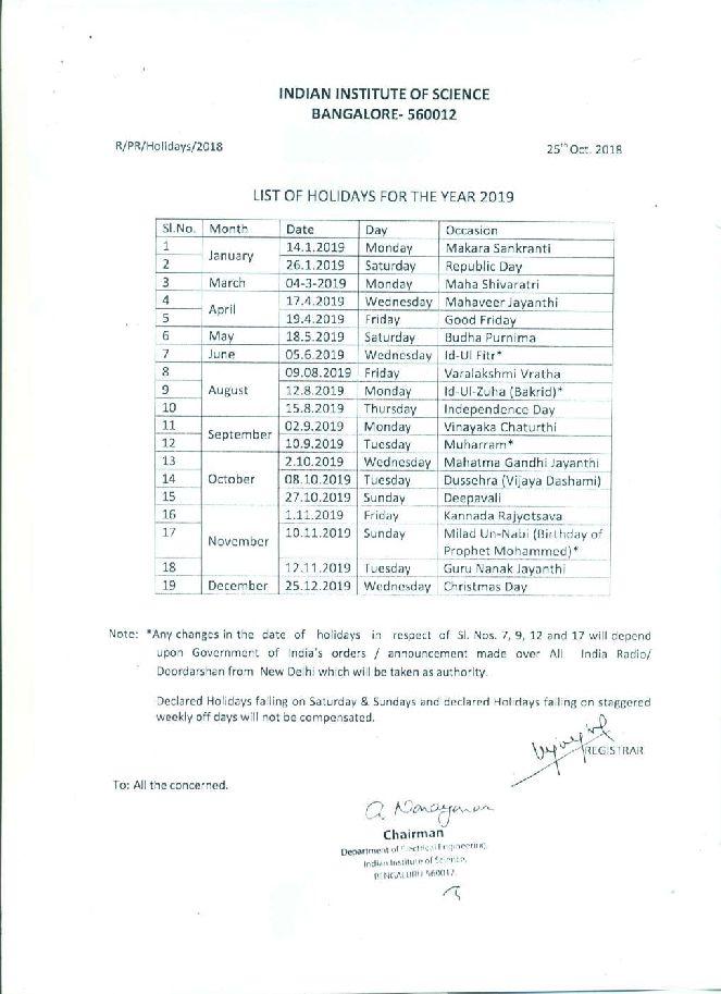 Irsc Academic Calendar 2022.Iisc List Of Holidays 2021 2022 Studychacha