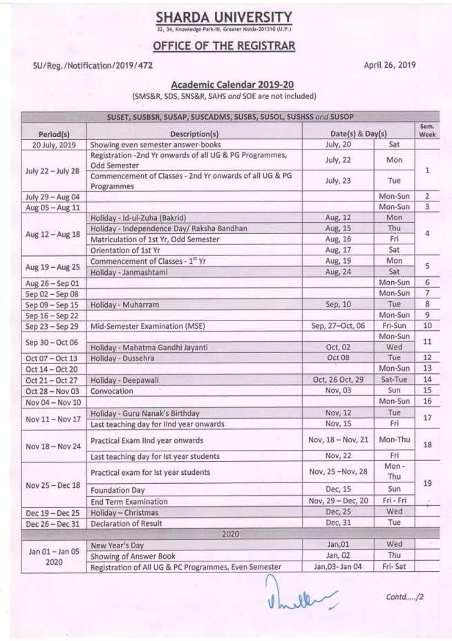 Ub Academic Calendar 2022.Sharda University Academic Calendar 14 2021 2022 Studychacha